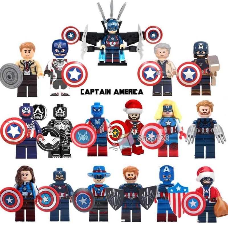 Marvel Super Heroes Captain America Civil War Steve Roger Shield Weapon Building Blocks s Infinity War Toys For Children