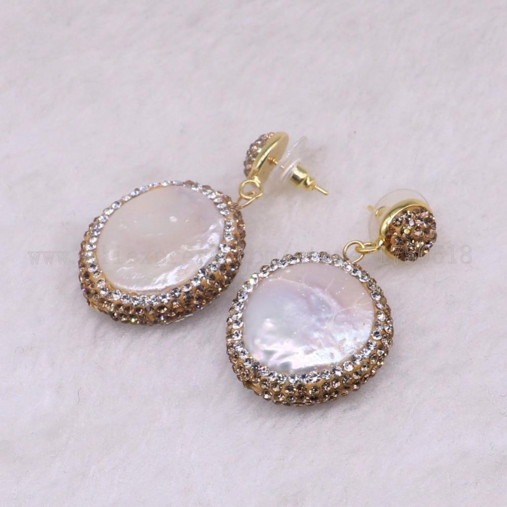 5 pairs Natural pearl dangle earrings drop earrings golden color crystal druzy drop earrings Gems jewelry