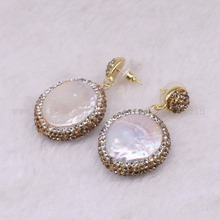 5 pairs Natural pearl dangle earrings drop earrings golden color crystal druzy drop earrings  Gems jewelry 3318