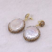 5 Pasang Alami Mutiara Anting-Anting Menjuntai Drop Anting-Anting Warna Emas Kristal Druzy Drop Anting-Anting Permata Perhiasan 3318(China)