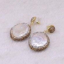 5 pairs Natuurlijke parel bengelen oorbellen oorbellen gouden kleur kristal druzy drop oorbellen Edelstenen sieraden 3318