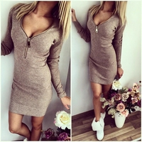 Knitting 2017 Women Dresses Zipper O Neck Sexy Knitted Dress Long Sleeve Bodycon Sheath Pack Hip