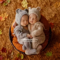 Vintage Baby Boy Outfits Footed Romper Knitted Newborn Teddy Bear Bonnet Baby Outfit Newborn Hat Jumpersuits Photography Props