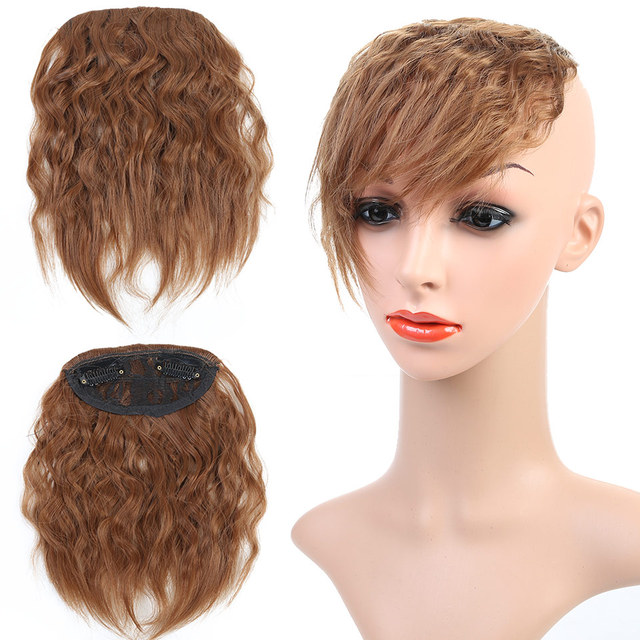 Jinkaili Wig Curly Clip In Fringe With Side Bangs Hair Extension