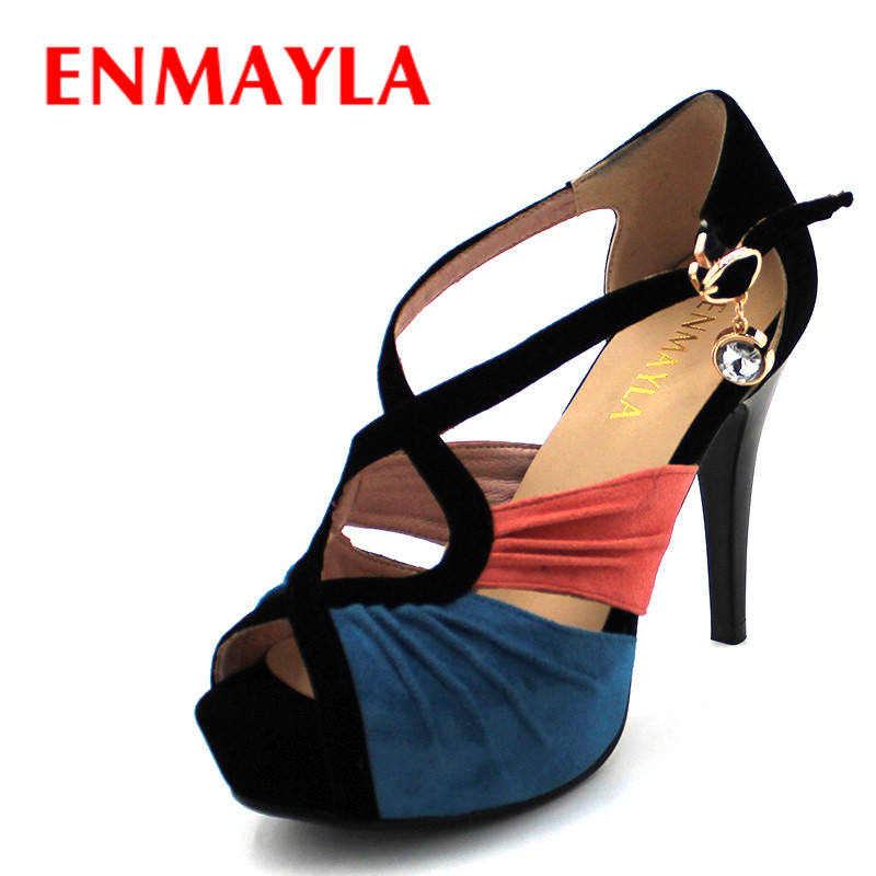 ENMAYLA Summer Sexy Peep Toe Mixed Colors Platform Ladies Sandals Women Flock Pumps High Heels Party Women Wedding Shoes Woman high quality new summer fashion hot women shoes thin high heels sexy party shining ladies peep toe metallic color pumps sandals