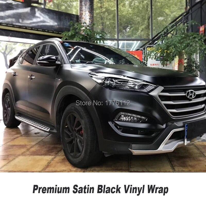 Atualizado qualidade premium Cetim Fosco envoltório de Vinil Preto Envoltório Carro Bolha de Ar Livre Para Car Wrapping Foil diamante Auto- adesivo