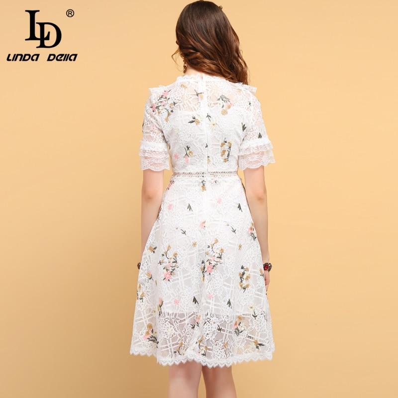 送料無料 リンダデラファッションデザイナー夏カジュアルドレス女性の中空アウトフリル刺繍エレガントなレディースショートドレス Nazan Princess