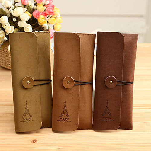 Faux Suede Leather Cosmetic Makeup Bag Pen Pencil Stationery Pouch