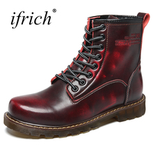 Фотография Ifrich Hot Sale Man Boots Shoes Genuine Leather Winter Men Boots with Fur Black Brown Men