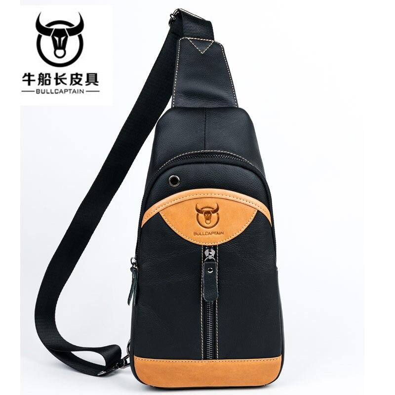 BULL CAPTAIN 2018 Small sling chest bag Brand men causal messenger Male Shoulder Bags Fashion Genuine Leather Crossbody