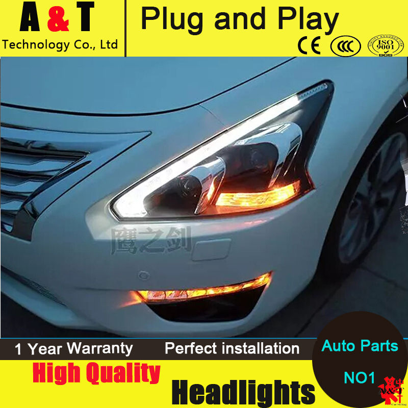 Car Styling LED Head Lamp for Nissan Teana led headlight assembly 2013-2014  headlights drl headlight H7 with hid kit 2pcs. car styling head lamp for bmw e84 x1 led headlight assembly 2009 2014 e84 led drl h7 with hid kit 2 pcs