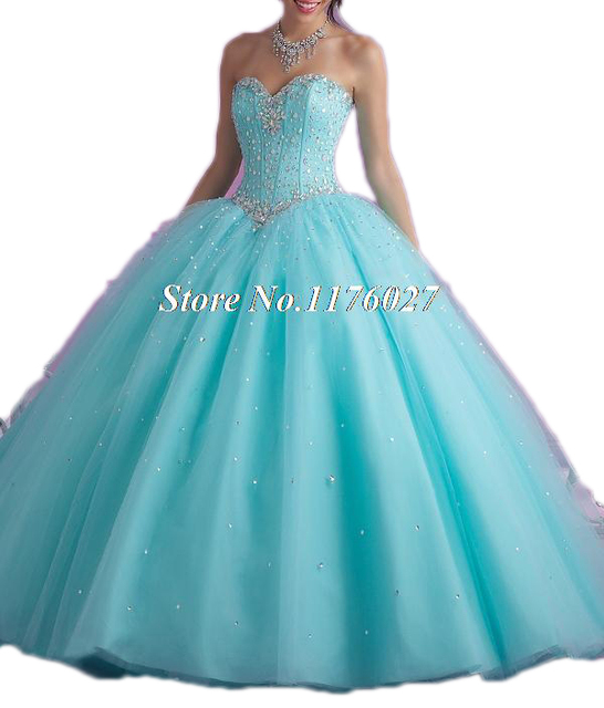 2017 Hot Pink Blue Quinceanera Dresses Ball Gown With Beads Cheap Quinceanera Gowns Sweet 16 Dress Vestidos De 15 Anos Q37