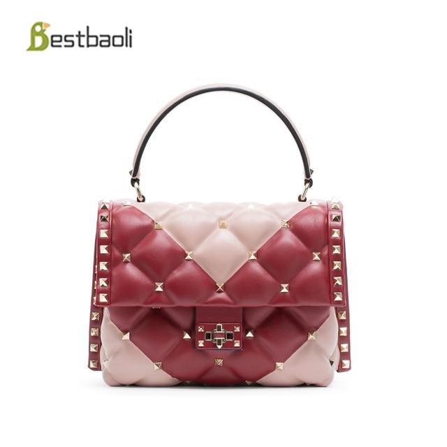 adbf0da99dc 2018New Fashion Women s Shoulder Bags Genuine leather Luxury Handbags Women  Bags Designer Rivet Style Sheepskin Totes