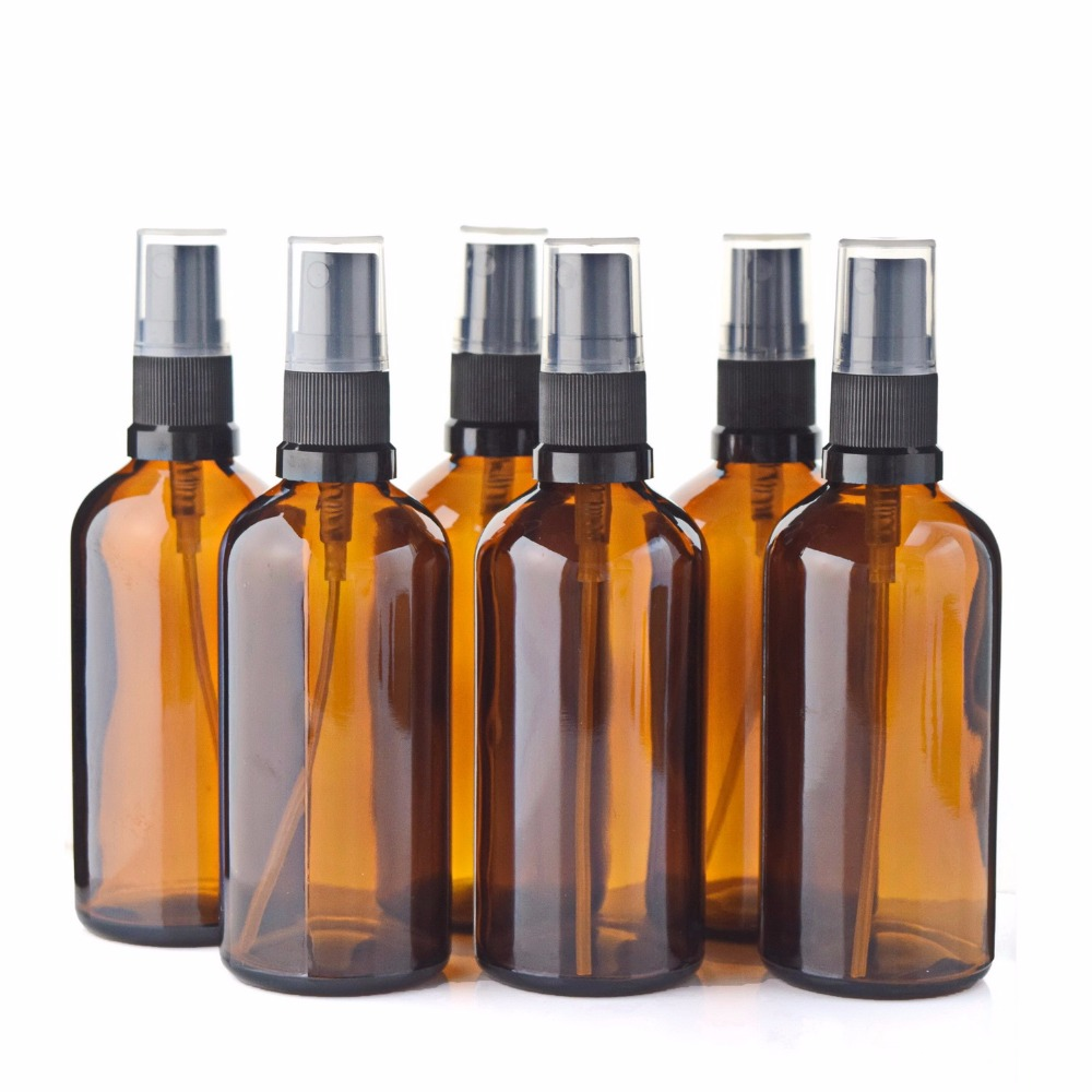 6pcs <font><b>100ml</b></font> <font><b>Spray</b></font> <font><b>Bottle</b></font> Empty Amber <font><b>Glass</b></font> Refillable Cosmetic Containers with Fine Mist Sprayer for Essential oils Perfume Brown image