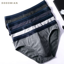 DO DO MIAN Men Briefs 4 pcs/lot Cotton Underpants Casual Stripe Underwear for Male plus size men briefs underwear L-4XL(China)