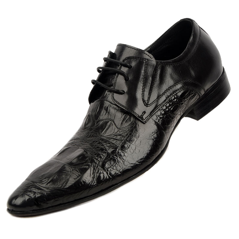 ФОТО Studio photographing crocodile leather, men's leather pointed shoes men's business dress shoes breathable England