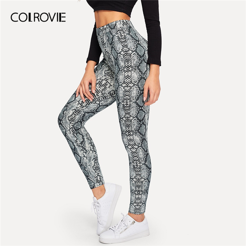 COLROVIE Snake Skin Print High Waist Active   Leggings   2019 Spring Streetwear Fashion Casual Pants Office Ladies Korean Trousers