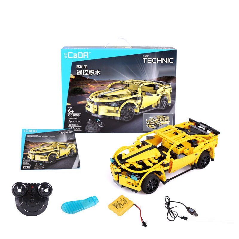 US $47 12 20% OFF 419pcs Electric RC Race Cars Bumblebee Technic Series DIY  Building Blocks Bricks Remote Control Car Model Compatible-in Blocks from