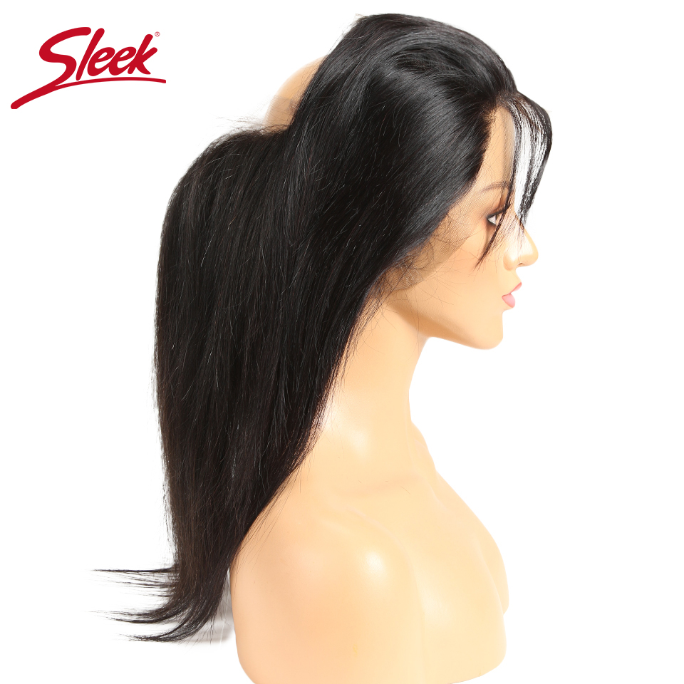 Sleek Frontal-Closure Hairline Full-Lace 100%Human-Hair Brazilian Straight-Hair 360 Remy title=