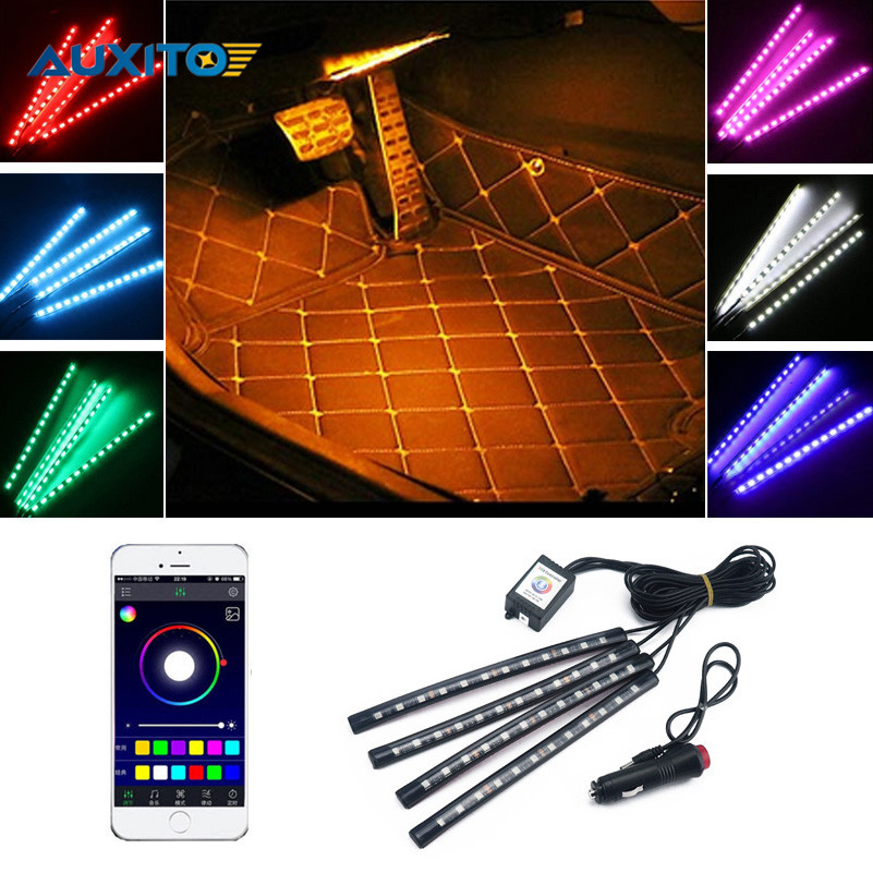 4pcs set 12led phone app control colorful rgb car interior floor decorative light strip for bmw. Black Bedroom Furniture Sets. Home Design Ideas