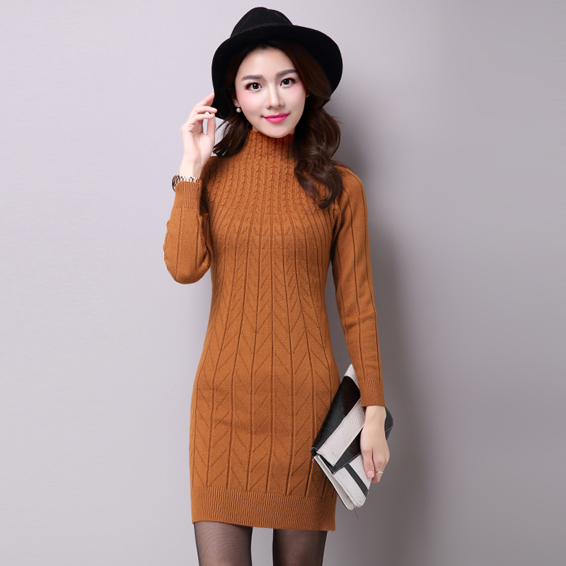 8cb547a9a57 Aliexpress.com   Buy Women Sweater Dress Autumn Winter Brief Basic Half  High Neck Long Sleeve Slim Bodycon Knitted Pullovers Jumper Lady Long  Sweater from ...
