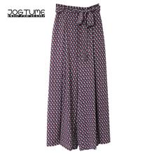 Summer Pants Wide Legs Plus Size 4xl 5xl Women Printed Loose High Waist Pants Purple Color