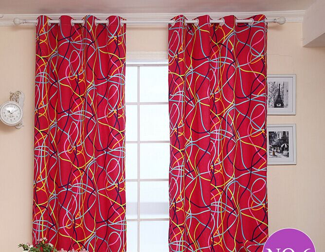 Garden Style Red Canvas Semi Shade Curtain Geometric Cloth Curtains For Bedroom And Living Room