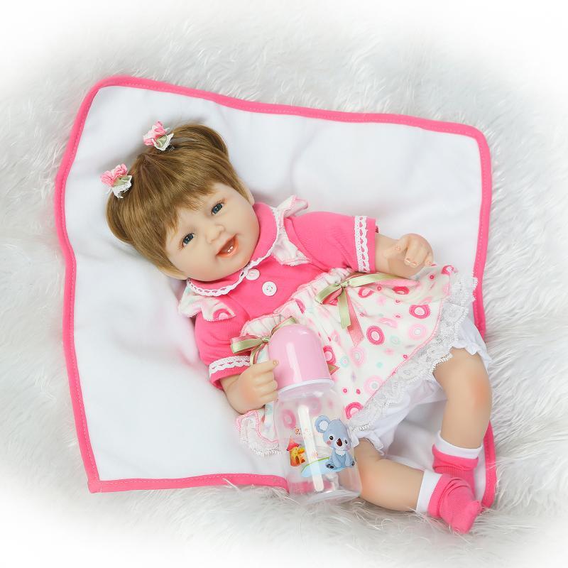 42cm Bebe girl silicone reborn dolls kids Gift Baby Alive 18inch Soft doll reborn Toys boneca reborn realista For Kids Playmate