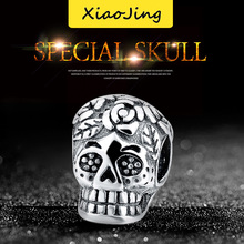 SG 100% New Real 925 Sterling Silver skull Jewelry Beads  Fit pandora charms Antique Pandant Gifts SG04106