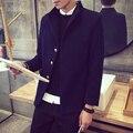 Casaco de lã dos homens Outerwear Turn-Down Collar Manga Comprida único Breasted Projeto Curto De Lã Marinha Casaco de Cor Sólida homens Jaqueta