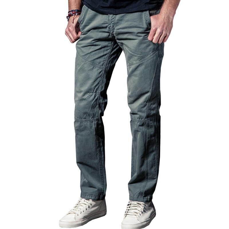 Tropfenverschiffen neue Männer Ladung Hosen graue Farbe große Taschen Mens beiläufige Hose einfache Wäsche männliche Armee Hosen 29-38 JPCK10