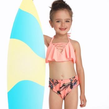Dwa kawałki stroje kąpielowe stroje kąpielowe stroje kąpielowe dla dziewczynek bikini Set ławki strój kąpielowy lato pływanie śliczne piękny tanie i dobre opinie Pływać NYLON spandex Dziewczyny Stałe YXZ190122 Pasuje prawda na wymiar weź swój normalny rozmiar CEECGDEC