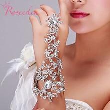 Bohemian wedding Bracelets with finger  Luxury rhinestone Slave Bracelet chain Hot Sale shiny Wedding Jewelry RE777