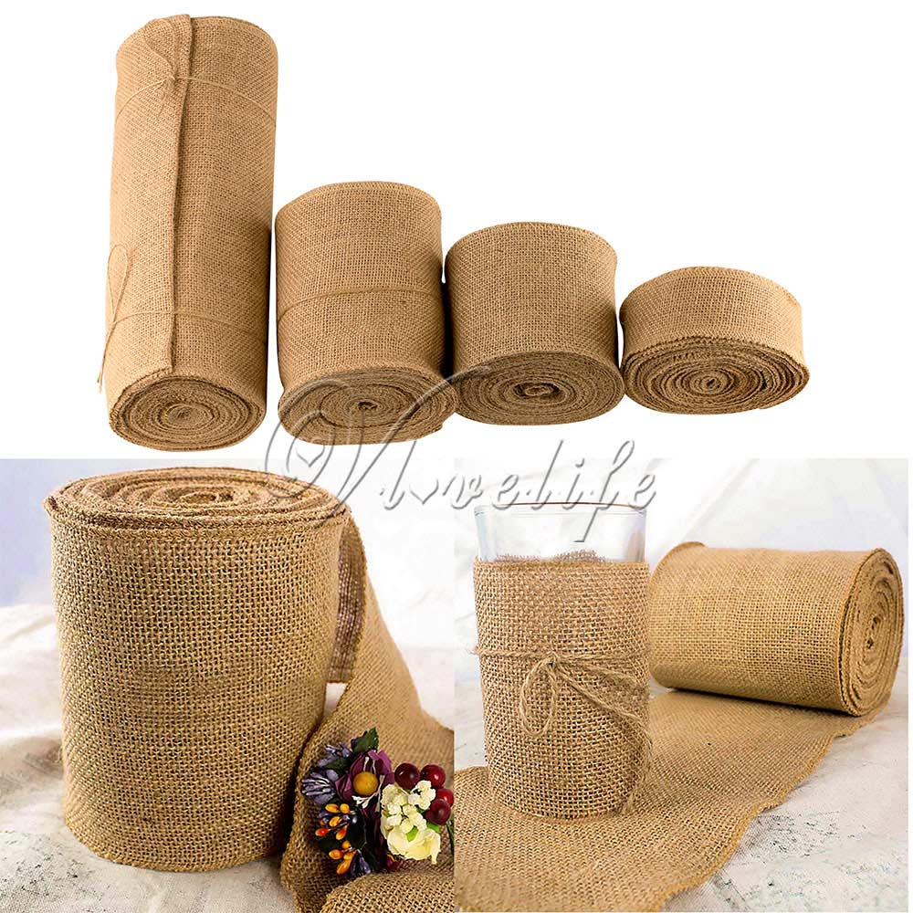 10meter natural jute hessian burlap ribbon roll burlap table runners wedding party chair Home decoration with jute