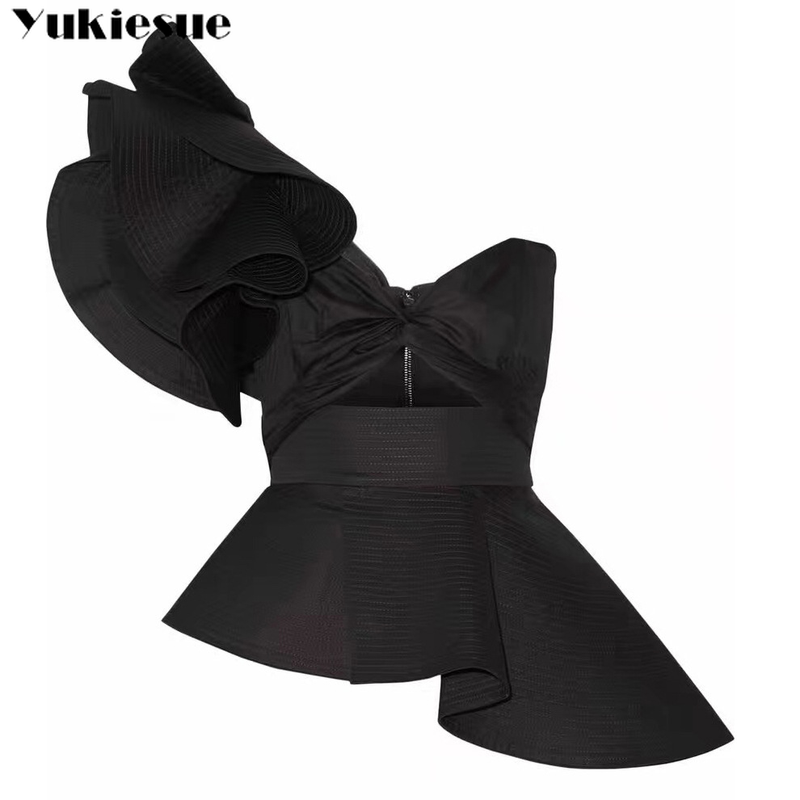 one shoulder top bow