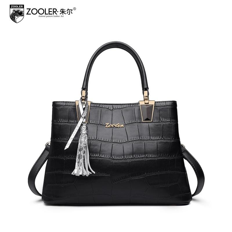 ZOOLER Fashion Genuine Leather Handbags Female Crocodile Pattern Shoulder Messenger Bag Ladies Large Capacity Crossbody Bags dali epicon 6 walnut