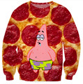 Patrick estrela pizza pepperoni Crewneck hoodies dos homens / mulheres dos desenhos animados engraçado 3d camisola casual pullovers tops plus size S-XXL