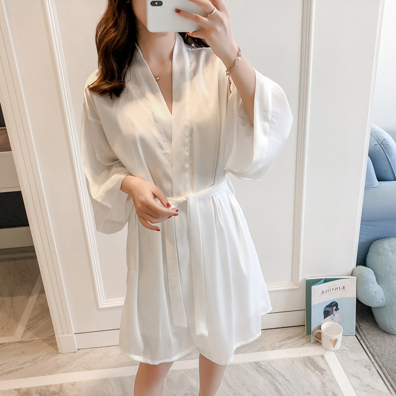 Elegant White Bride Bridesmaid Wedding Robe Set Sexy Rayon V-Neck 2PCS Home Dress Satin Kmono Bathrobe Gowns Sleepwear Nightgown