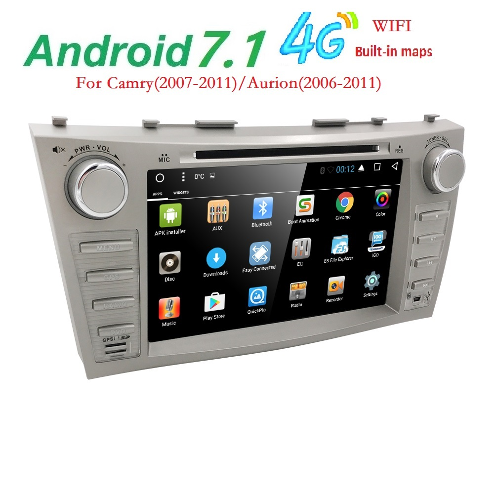 Android 7.1 Quad Core 8 Car DVD Player For Toyota Camry 2008 2011 GPS Navi Support ipod SD/USB Touch Screen Radio mp3 Bluetooth