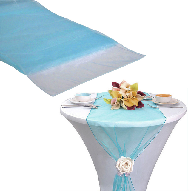 (Free Shipping) 75pcs Turquoise Organza Sash Table Runner Chair Sashes Table  Runners Bow Banquet