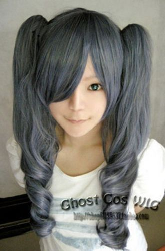 FREE SHIPPING Hot heat resistant Party hair>>>>>Black Butler Kuroshitsuji Ciel Phantomhive Girl Ver Blue mix Grey Cosplay Wig