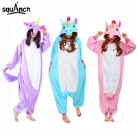 Unicorn Onesie Pajamas Women Adult Overalls Animal Cosplay Party Suit Fashion Blue Purple Pink Rainbow Flannel