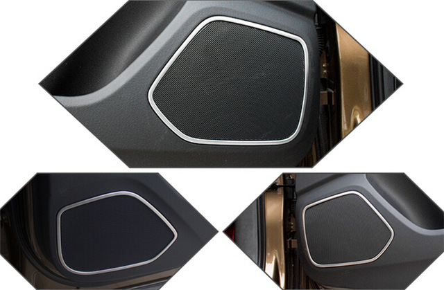 4 pcs stainless steel ring of stereo speaker trim cover decorative panel audio strip horn 3D label circle for Audi Q3