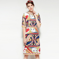 Autumn Print Fashion Dress High Quality New Women S Half Sleeve Elegant Beading Amazing Patterned Dress