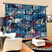 cartoon curtain 3D Curtain Printing Blockout Polyester Photo Drapes Fabric For Room Bedroom