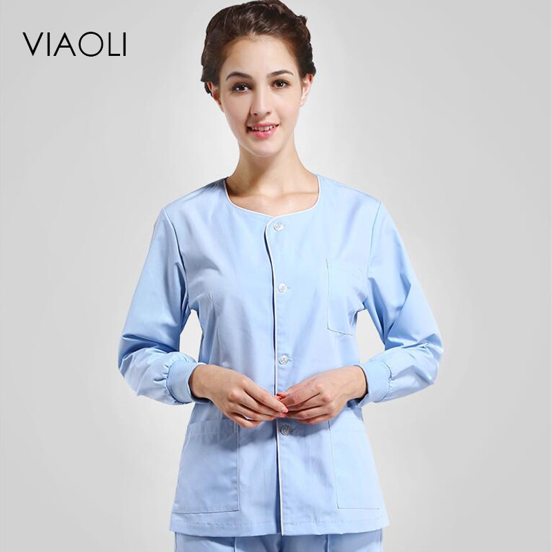 Viaoli Women And Men Medical Clothing Single-breasted Short Sleeves Medical Services Uniform Nurse Clothing Protect Lab Coats