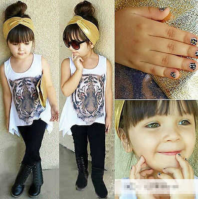 f7b5fd9aa NEW 1 6Y Baby Kids Girl A line Outfits Tiger Tops Pants Leggings Set ...
