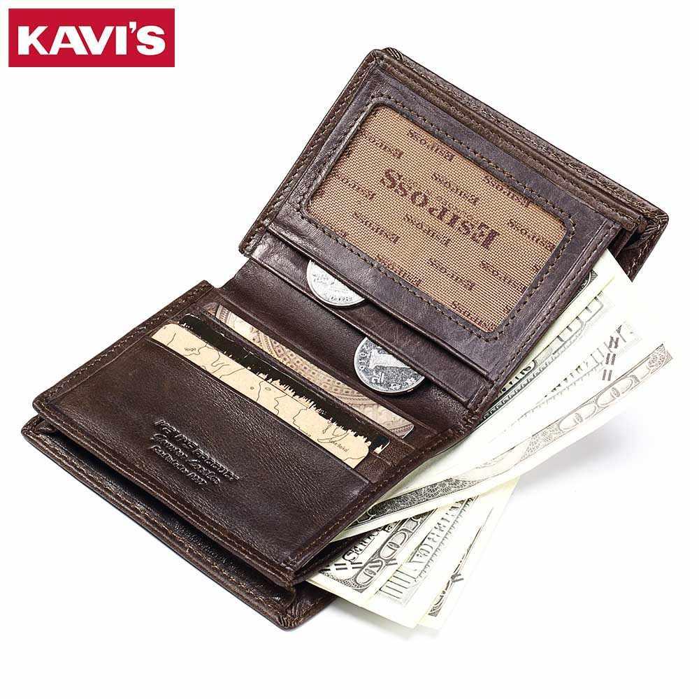 KAVIS nuevo cuero genuino hombres carteras Vintage monedero de lujo de marca Bifold cartera Rfid moda mágica Vallet macho Cuzdan