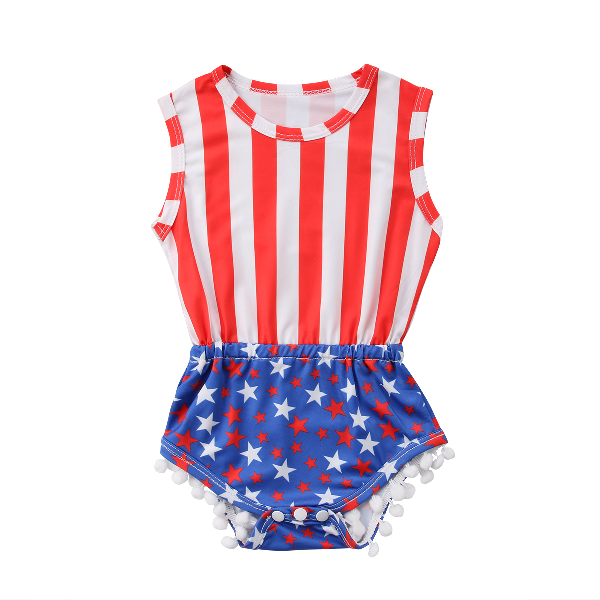 Summer Newborn Toddled Baby Girl Infant Romper Jumpsuits Stripe Star Sleeveless Tassel 2018 Baby Clothes Outfit