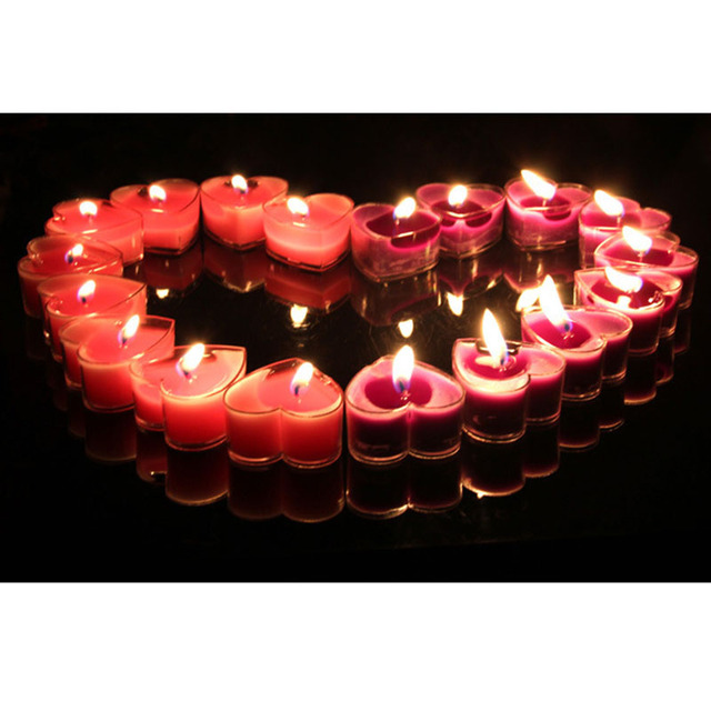 Free Shipping 9pcs Lot Heart Shaped Candlelight Dinner Candles Birthday Party Decoration Wedding